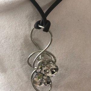Silver necklace Swarovski crystals